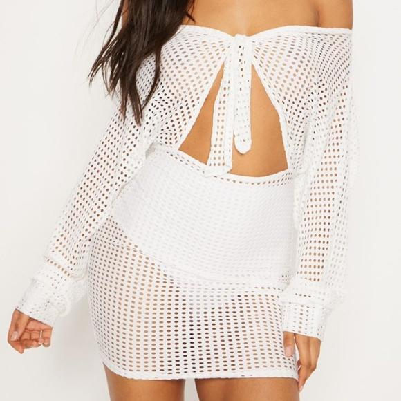 3196d699d4cc5 PrettyLittleThing Dresses   White Fishnet Bardot Tie Front Bodycon ...
